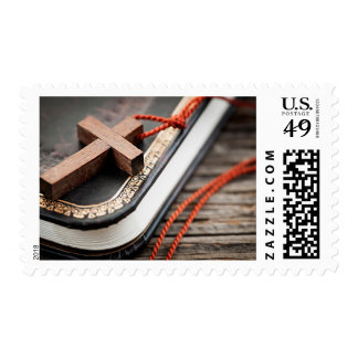 Cross on Bible Postage Stamps