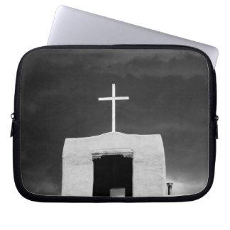 Cross on oldest church, San Miguel, Santa Fe, Laptop Sleeve
