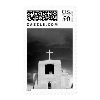 Cross on oldest church, San Miguel, Santa Fe, Postage