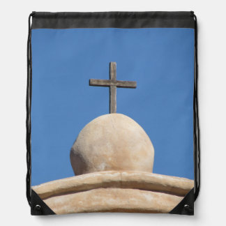Cross on the Mission Church Drawstring Backpack