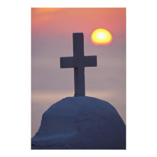 Cross on top of church at sunset, Mykonos, Photographic Print