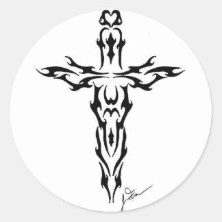 Cross or Dagger Classic Round Sticker