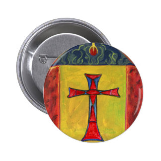 Cross over Snake Medieval Style Cross Design Pinback Button