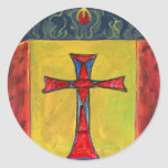 Cross over Snake Medieval Style Cross Design Round Sticker