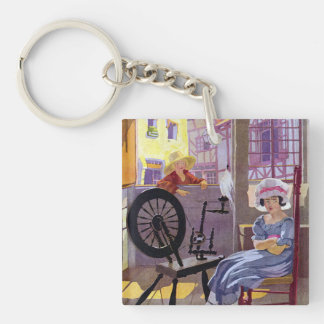 Cross Patch and Spinning Wheel Nursery Rhyme Keychain