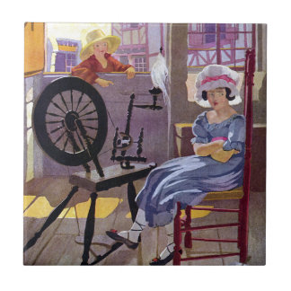 Cross Patch and Spinning Wheel Nursery Rhyme Tiles