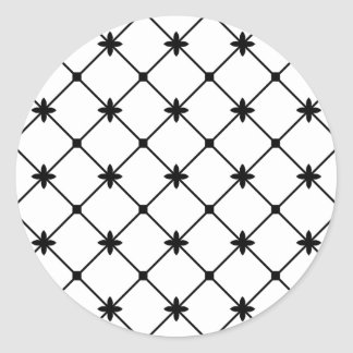 Cross Pattern Black and White Classic Round Sticker