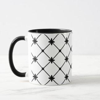 Cross Pattern Black and White Mug
