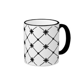 Cross Pattern Black and White Ringer Coffee Mug