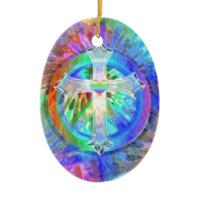 Cross, Peace Sign Ornaments