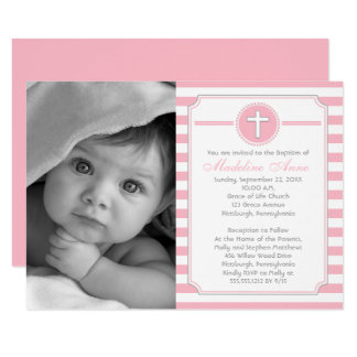 Cross Pink Stripes Girl Photo Baptism Invitation