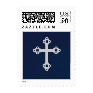 Cross Postage Stamp - Blue & Silver