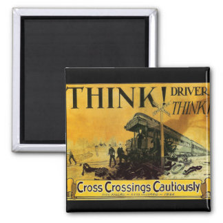 Cross Railroad Crossings Cautiously Magnet