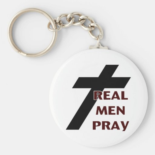 Cross - Real Men Pray Key Chains