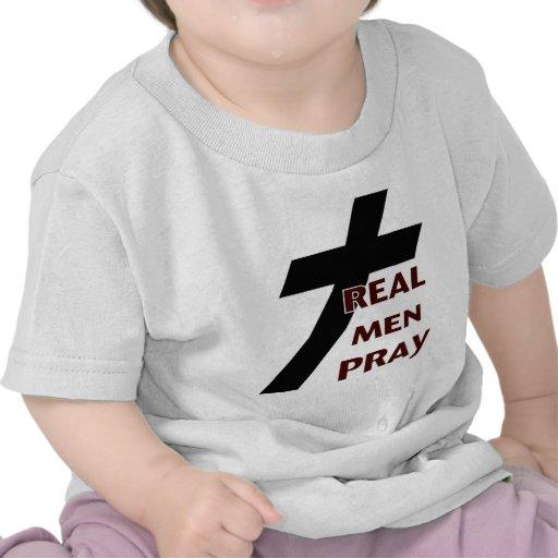 Cross - Real Men Pray T Shirt