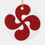 Cross Red Basque Lauburu Double-Sided Ceramic Round Christmas Ornament