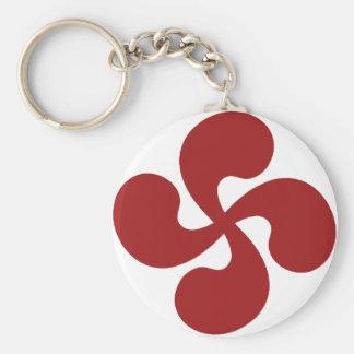 Cross Red Basque Lauburu Keychain