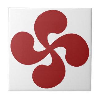 Cross Red Basque Lauburu Ceramic Tiles