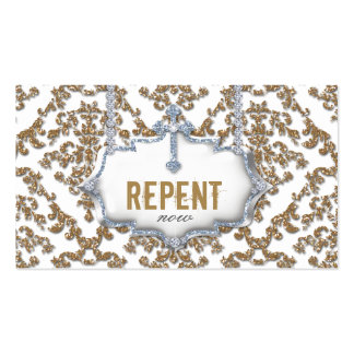 Cross Repent Now Christian Business Card