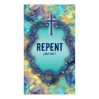 Cross Repent Now Religious Business Card