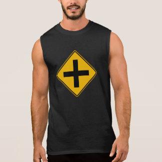 Cross Road Traffic Warning Sign USA Sleeveless Shirts