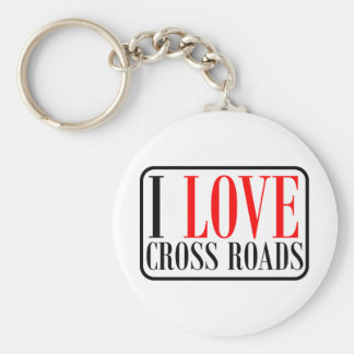 Cross Roads, Alabama City Design Basic Round Button Keychain