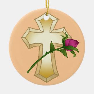Cross Rose Ceramic Ornament