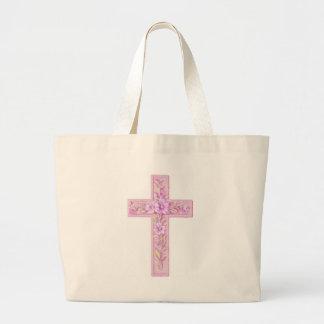 cross rose pink large tote bag