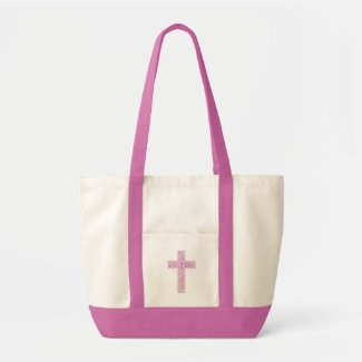 cross rose pink tote bag