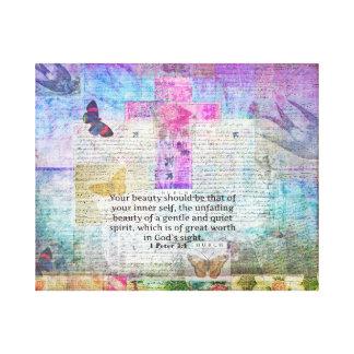 Cross, Scripture Art, Bible Verse Art Faith Based Canvas Print