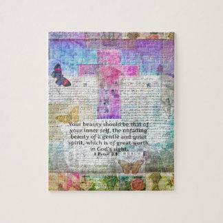 Cross, Scripture Art, Bible Verse Art Faith Based Jigsaw Puzzle
