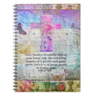 Cross, Scripture Art, Bible Verse Art Faith Based Notebook