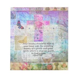 Cross, Scripture Art, Bible Verse Art Faith Based Notepad
