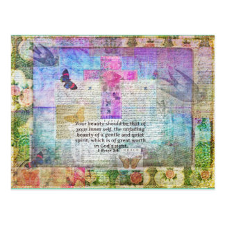 Cross, Scripture Art, Bible Verse Art Faith Based Postcard