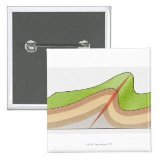 Cross-section illustration of a fold in the rock pinback button