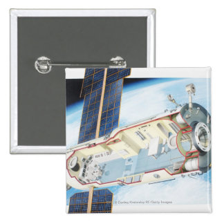 Cross section of solar powered space station 2 inch square button