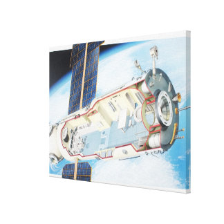 Cross section of solar powered space station canvas print