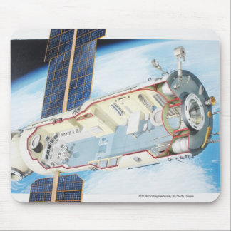 Cross section of solar powered space station mouse pad