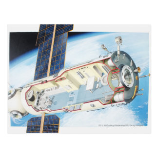 Cross section of solar powered space station postcard