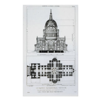 Cross section of St. Paul's Cathedral Poster