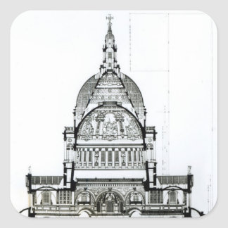 Cross section of St. Paul's Cathedral Square Sticker