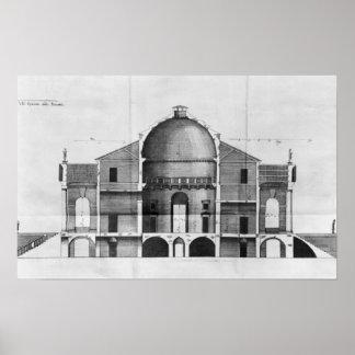 Cross-section of the Villa Rotonda near Posters