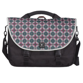 Cross Shaped On Blue Spruce. Stained Glass Pattern Laptop Bags