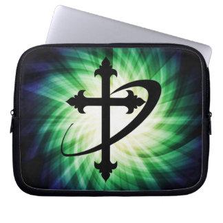Cross Silhouette; Glowing Laptop Computer Sleeves