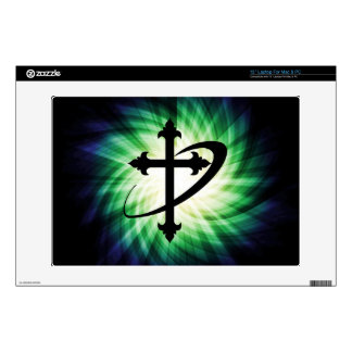 Cross Silhouette; Glowing Laptop Decals