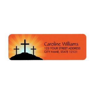 Cross silhouettes against sunrise Christian faith Label