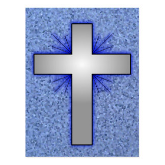 Cross ~ Silver ~ Blue Rays ~ Background Postcard