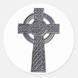 Cross - silver classic round sticker