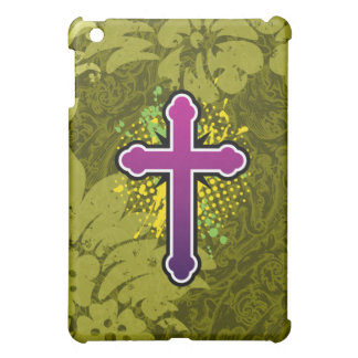 Cross soft knob purple solid bg iPad mini cases