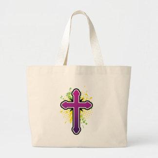 Cross soft knob purple solid bg tote bag